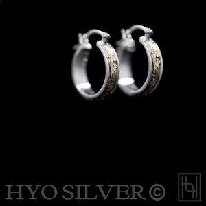 Hyo Silver©️ Sterling Silver Hoops w/ 10K Gold